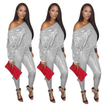 Fashion Sequin Outfits Oblique Shoulder Top Skinny Pants YYZ717