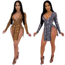 Deep V Neck Print High Cut Sexy Mini Dress X9084
