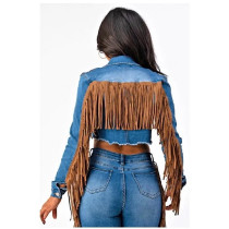 Denim Long Sleeved Casual Ladies Short Coat With Tassel DMM8112