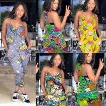 Colorful cartoon printed jumpsuit multi-color multi-code MD318