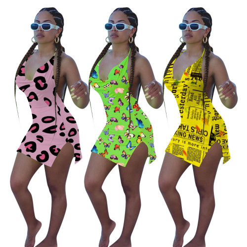 Women\'s Sexy Skinny Halter Print Beach Dress ED8188