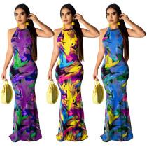 Graffiti positioning printed sleeveless backless sexy long dress LML013