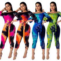 Colorful Print Off Shoulder Bodycon Jumpsuits CM535