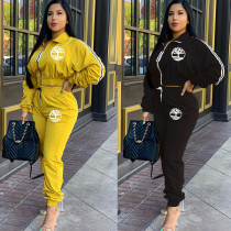 Black/Yellow Running Elastic Waist Pants Suits For Sale LYY9221