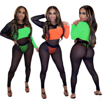 Trendy Thin Slim Bodycon Perspective Color Patchwork Jumpsuit MY9608