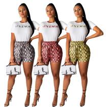 Letters Short Sleeve T-Shirt Snake Print Bandage Shorts ML7229