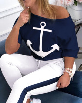 Women's two-piece short sleeve T-shirt navy sports suit anchor print AL077
