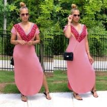 Women's V-neck split dress dress K8912