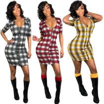 Short Sleeves Zipper Plaid Bodycon Mini Dress H1112