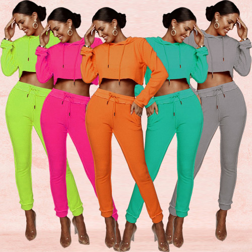 Autumn Sports Suits Hooded Crop Top Elastic Waist Tight Pants XZ3276