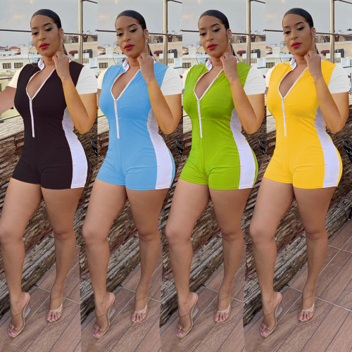 Fashion casual trend solid color stitching zipper slim short-sleeved sports jumpsuit SM9085
