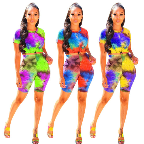 Women's printed spring lace-up bat sleeve round neck casual suit KK8193
