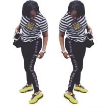 Leisure Short Sleeves Stripe T-Shirt Letters Printing Pants LS6236