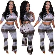 New Design Outdoor Women Two-Piece Printing Pants Suits KK8058