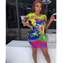 Factory Price Round Neck Clubwear Lady Printed Mini Dress FA7036