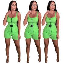 Green Women Leisure Zipper Condole Belt Short Jumpsuit TK6006