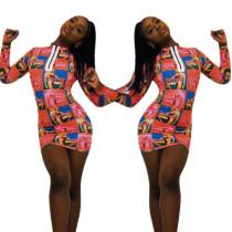 Print Long Sleeves Bodyco Mini Dress YYZ713