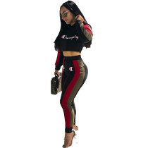 【HOT】 Letters Printed Mini Tops With Pancil Pants 2 Pcs Women Sets MDF-5018