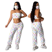 Fashionable casual new women's mask tube top three-piece suit YF8439