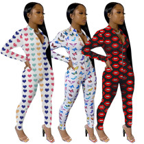 Casual Slim Zip Up Printing Long Jumpsuit For Wholesale MY9590