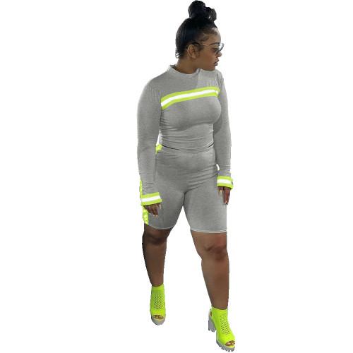 Female Webbing Patchwork Sport Reflective Bodycon Sets DN8282