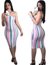 Fashion Ladies Stripe Strapless Midi Dress CXM8018