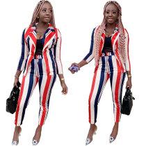Leisure Striped Outfits Long Sleeves Coat Skinny Pants LYY9224