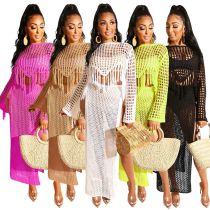 Sexy Perspective Hollow Hand Fringe Skirt Set ZS047