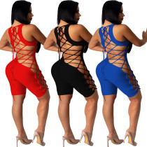 Women's solid color strapless backless sexy suspenders nightclub jumpsuit WJ5097