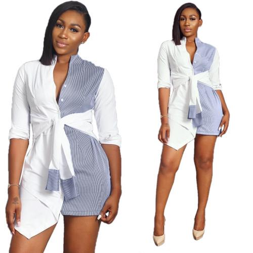 Trendy Oversize Shirt Patchwork Irregular Tied Short Dress YX9071