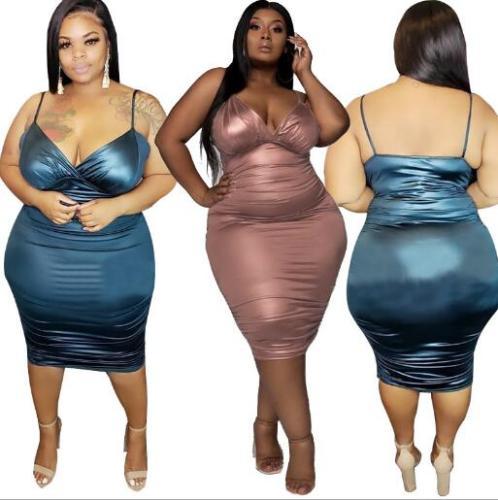V-neck sling skinny sexy plus size women's dress OSS20648