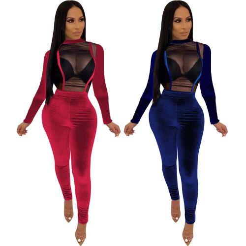 Slim Fitting Pure Color Velvet Patchwork Mesh Sexy Jumpsuit FA7077