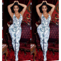Sexy strapless US dollar pattern jumpsuit SM9020