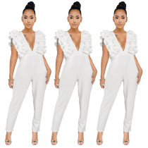 New Design Ladies Ruffle Deep V Collar White Jumpsuit GL6158