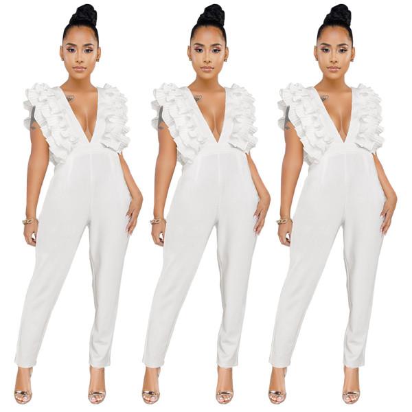New Design Ladies Ruffle Deep V Collar White Jumpsuit GL6158