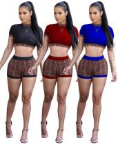 Wholesale Print Running Suits Crop Top Bodycon Shorts QQM3967