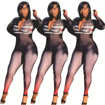 New Positioning Printing Zip Up Bodycon Jumpsuit For Wholesale FA7052