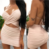 Sexy Women's Pure Color Pleated Halter Halter Dress SH7129