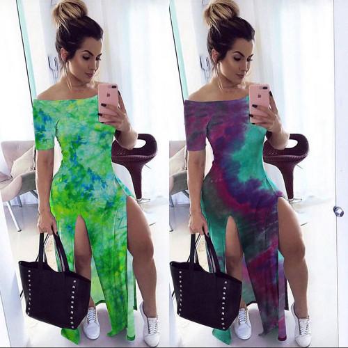 Bay Explosive Women's One-shoulder Shoulder Loose Split Dress Long Skirt K8901