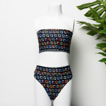 Black tube top split swimsuit triangle bikini YWJ1906
