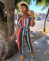 Colorful Stripe Wide Leg Jumpsuit For Ladies R6153