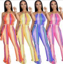 Color Stripe Slim Flare Pants Women's Suspender Jumpsuit KZ134