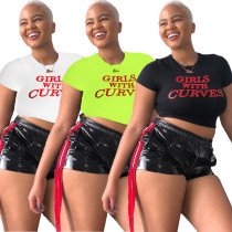Cheap Outfits Letters Printing T-Shirt Leather Shorts HG5265