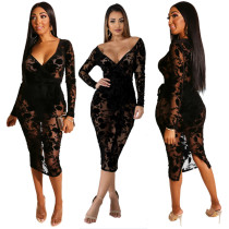 Sexy Mature Women V Collar Lace See Through Midi Dress QZ4076
