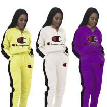 【HOT】 Leters Printed Fashion Women 2 Pcs Autumn Sets MDF5038