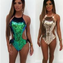 Gradient AB face sequins foreign trade one-piece bikini triangle swimsuit QS-1201