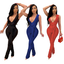 Women's multicolor solid color sleeveless jumpsuit spot MD310