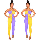Contrast Color Pleated Suits Strapless Top High Waist Slinky Pants LS6238