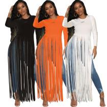 New Design Slim Long Sleeves Pure Color Tassel Top HM5252