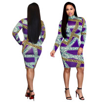 Fashion Colorful Print Slim Midi Dress SMR9155